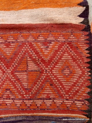 "MOROCCAN MIXED TECHNIQUE FLAT WEAVE/KILIM OR ""HANBEL"". This rare, old hanbel or cover is from the region of Rehamna in the plains of Marrakech. This land lies between that city and extends  ..."