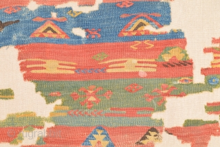 An Unusual 18th Century Central Anatolian Cappadokia Kilim Fragment.It Has Great Details Also Has Some Pile Area As Like Rug.Size 93 x 117 Cm