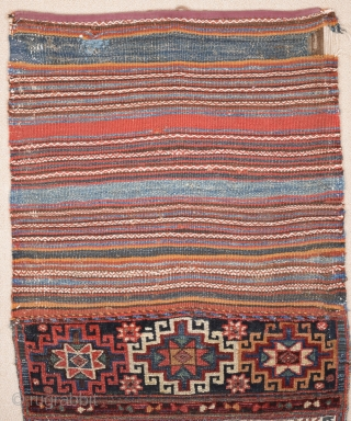 Mix Technical Bag Kilim,Knots and Sumac 19th Century Probably Bahtiyar area Untouched One Size 66 x 140 Cm