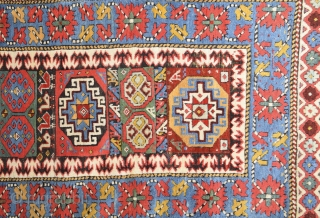 Middle of the 19th Century Caucasian Rug.It has great colors.All is original untocuhed one.Size 115 x 400 cm Reasonable one.