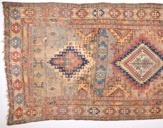 19th Century Large Size Shirvan Rug As Found It Size 155 x 295 Cm