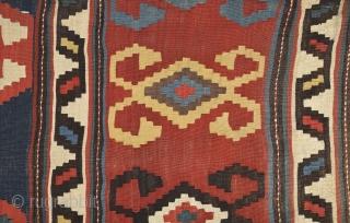 19th Century Caucasian Kilim Large Size 195 x 260 Cm