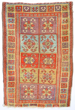 19th Century Central Anatolian Sivas Yastık In this example the confronting bird's head motif is used in the main borders as well as in the field and the chevron border also reappears.  ...