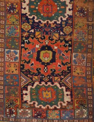 19th Century Kurdish Colorful Rug Size 135 x 220 cm