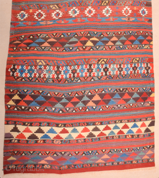 An Unusual Early 19th Century West Anatolian Kilim It has great colors on it Size 135 x 270 cm