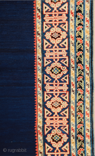Middle of the 19th Century Shirvan Kuba Rug It has great Blue field ground.In the light blue-ground main border, a pseudo kufi vine encloses star-filled rectangles, their sides decorated with double hooks.It's  ...