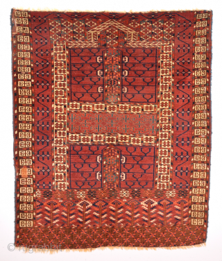 Second half of 19th Century Tekke Ensi.Of comparatively coarse weave, with a light palette and large, well-drawn designs, this door hanging by the Tekke tribe is an early example of its type,  ...