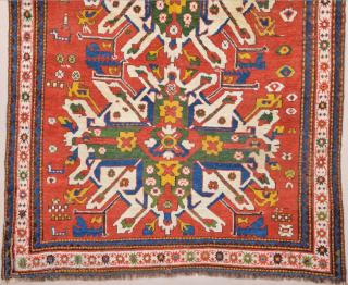 19th Century Colorful Eagle Kazak Rug 166 x 175 cm