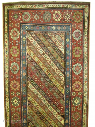 """Talish Caucasian circa 1870 antique. Collector's item. Size: 249 x 106 (cm) 8' 2"""" x 3' 6""""  carpet ID: RS-451 Minor places are already repaired, high pile, vegetable dyes, the black color  ..."""