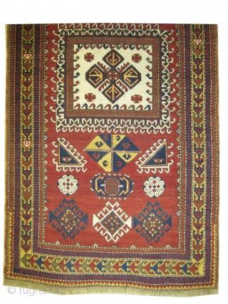 "Fachralo Kazak prayer Caucasian circa 1910 antique, collector's item, Size: 240 x 132 (cm) 7' 10"" x 4' 4""  carpet ID: H-319 The brown color is oxidized, vegetable dyes, the knots are  ..."