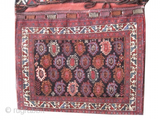 """Afshar Persian circa 1920 Semi antique saddle-bag, collector's item, Size: 155 x 87 (cm) 5' 1"""" x 2' 10""""  carpet ID: K-689 The back side covered kilim is original, high pile, perfect  ..."""