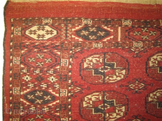Tekke Boukhara Turkmen, knotted circa in 1890 antique. 96 x 122 cm, carpet ID: DD-27 The black color is oxidized, in good condition except the border side to be stitched.