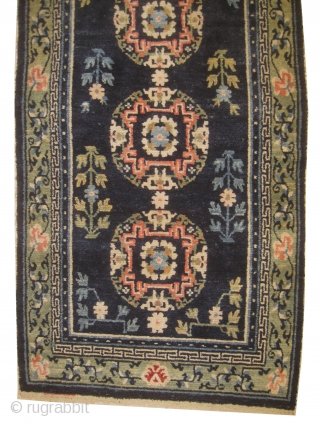 Chinese, knotted circa in 1900, antique, 73 x 135 cm, carpet ID: SRO-3  The background is indigo, high pile in perfect condition.