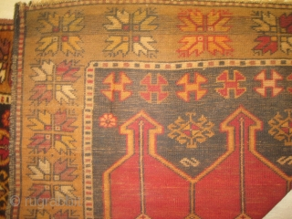 Karapinar Turkish, semi antique, 105 x 315 cm, carpet ID: SRO-9 The three medallions at the center are soft red with tulips, thigh pile in perfect condition.