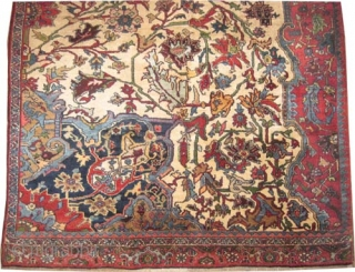 """Bidjar Halvai Persian Wagire knotted circa in 1905 antique, collectors item, Size: 260 x 172 (cm) 8' 6"""" x 5' 8""""  carpet ID: P-442. Thick pile, rare example, ivory background."""
