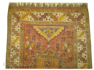 Bergama Turkish, knotted circa in 1910, antique,  168 x 128 cm, carpet ID: SRO-18 Synthetic colors, the background is warm red, the surrounded large border is ivory, in good condition and in  ...