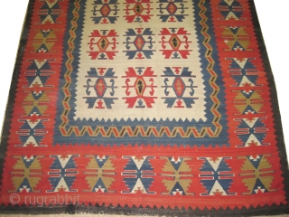 "Anatolian Karaman kilim, circa 1860 antique. Collector's item. Size: 322 x 230 (cm) 10' 7"" x 7' 6""  carpet ID: A-573