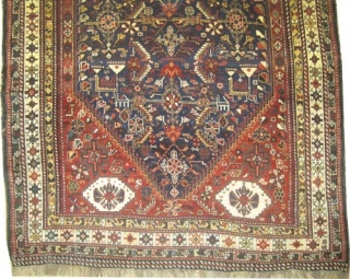 """Qashqai Persian knotted circa in 1918 antique, collector's item. 197 x 152 (cm) 6' 6"""" x 5'  carpet ID: K-2310 The black color is oxidized, the knots are hand spun lamb wool,  ..."""