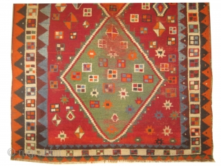 """Gabbeh Nomad Persian, knotted circa in 1918 antique, collectors item,  234 x 140 (cm) 7' 8"""" x 4' 7"""" carpet ID: DD-39 The warp and the weft threads are mixed with wool  ..."""