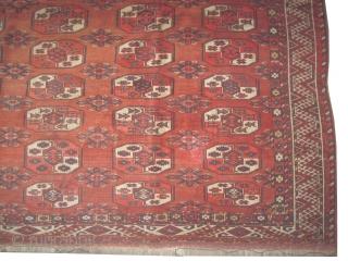 """Kizyl Ayak Turkmen main carpet, antique, collectors item,  220 x 220 (cm) 7' 3"""" x 7' 3""""  carpet ID: P-4786 The knots are hand spun \wool, the brown color is oxidized,  ..."""