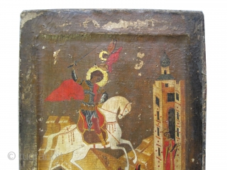 """Russian Icon Saint George from 1700, antique, collector's item, museum standard.  30 x 27 (cm) 1'  x 11""""  , Icon ID: IC-5 Saint George on white horse killing the dragon,  ..."""