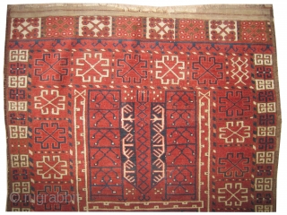 """Ersari Engsi Turkmen, antique. Collector's item.Size: 170 x 128 (cm) 5' 7"""" x 4' 2"""" feet, carpet ID: K-3129  High pile, at the center two small holes 1x2 cm old repair, the  ..."""