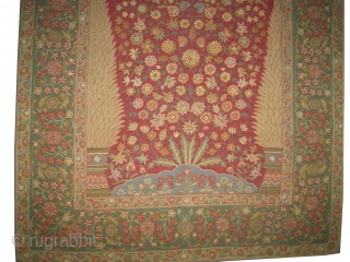 "Mille Fleurs needle work, circa 1910, antique. Collector's item. Size: 190 x 121 (cm) 6' 3"" x 4' Carpet ID: A-1065 