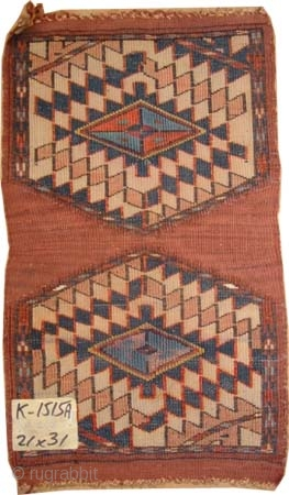 """Yemouth Turkmen uncut pair, ca 1910, antique. Knee for camel. Collector's item. Size: 31 x 21 (cm) 1'  x 8"""" feet, carpet ID: K-1515A  The warp threads and the 1cm kelim  ..."""