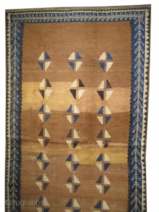 """Gabbeh Nomad Persian, circa 1910, antique. Collector's item. Size: 241 x 131 (cm) 7' 11"""" x 4' 4"""", carpet ID: K-1118  Vegetable dyes, the black color is oxidized, the warp and the  ..."""
