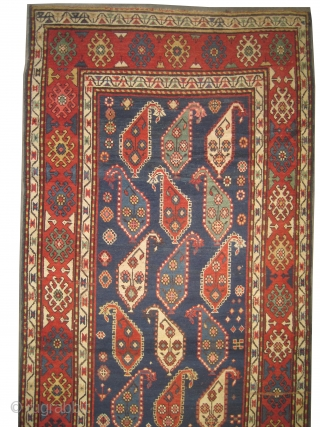 """Saliani Caucasian knotted circa in 1865, antique. Collector's item. Size: 290 x 116 (cm) 9' 6"""" x 3' 10""""  carpet ID: V-181 The background is indigo with all over Mirabotha design, the  ..."""