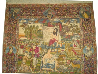 "Pictorial Tabriz Persian circa 1922 Signed, Antique, single example, Size: 272 x 164 (cm) 8' 11"" x 5' 5""  carpet ID: K-83 
