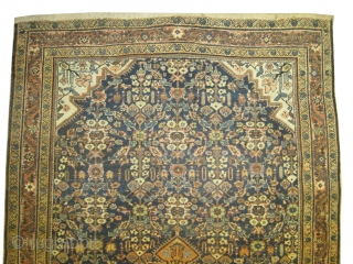 """Ziegler-Mahal Persian knotted circa in 1910 antique, collector's item, Size: 300 x 179 (cm) 9' 10"""" x 5' 10""""  carpet ID: P-5718 The background color is indigo, the four corners are ivory,  ..."""