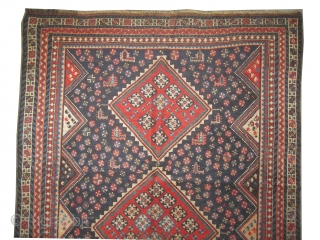 """Shiraz Persian circa 1905 antique. Collector's item, Size: 233 x 151 (cm) 7' 8"""" x 4' 11""""  carpet ID: E-50 vegetable dyes, the black color is oxidized, the background is indigo,  ..."""