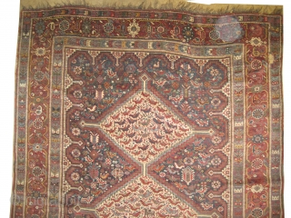 "Shiraz Khamse Persian, circa 1890 antique. Collector's item. Size: 237 x 162 (cm) 7' 9"" x 5' 4""  carpet ID: K-804