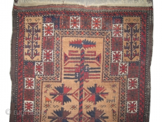 "Belutch prayer Persian circa 1895 antique. Collector's item, Size: 150 x 74 (cm) 4' 11"" x 2' 5""  carpet ID: K-4271