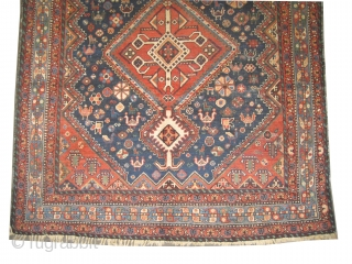 """Qashqai Persian circa 1918 antique, collector's item, Size: 304 x 157 (cm) 10'  x 5' 2""""  carpet ID: K-5490 The knots are hand spun lamb wool, vegetable dyes, the black  ..."""