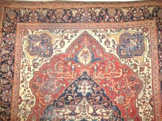 "Ziegler Mahal Persian circa 1900 antique.  Size: 376 x 280 (cm) 12' 4"" x 9' 2""  carpet ID: P-4501 vegetable dyes, the black color is oxidized, the knots are hand spun  ..."