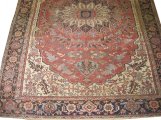 "Serapi Heriz Persian, knotted circa in 1890 antique.  404 x 294 (cm) 13' 3"" x 9' 8"" 