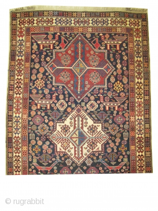 """Akstafa Caucasian knotted circa in 1915 antique, collectors item,  253 x 143 (cm) 8' 4"""" x 4' 8""""  carpet ID: H-175  Thick pile, in perfect condition. The background is stylized with  ..."""