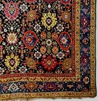 Exceptional Classic Karabagh carpet, c 1800-20,7.3 X 18 feet ( 221xxo cm) with sparkling fresh jewel-tones. Diagonal palmettes are piled with undyed camel hair. Very good pile overall with some slightly lower  ...