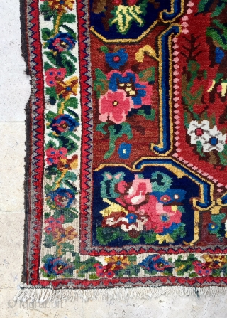 """Description and origin: Description and origin: a """"Gol Farang"""" Bakhtiyar-style woven rug with central panel of floral motifs and dense floral border.  rug from the Chahar Mahal region inspired by textiles  ..."""