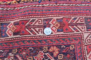 "Afshar nomad main rug. 8'5"" x 5'1"". Late 19th century. Very rare to find this size in Afshar rugs. The design is most often seen on Afshar and Khamseh bags. Sides and  ..."