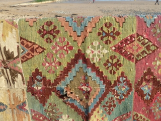 Lovely south east anatolian kilim (half of), nice colours, complete in width but roughly half the length, 189 x 168 cm, 5.9 x 5.5 ft.
