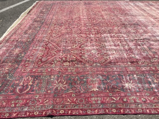 Antique persian rug size approx 12x18 worn areas absolutely beautiful