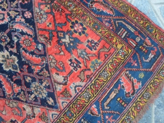 HAPPY NEW YEAR with this ANTIQUE Bijar full pile and with all vegetable dyes. Size  161 X 103 CM. Fine knot and shiny-brilliant fastened color for this one. ONLY one selvedge is not in  ...