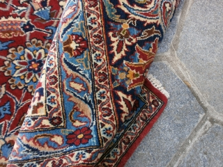 cm. 220 x 145 is the size of this important piece knotted in PERSIA. Very fine knot for this NAIN made in the old village of TUDESHK. Antique piece in PERFECT condition, like a  ...