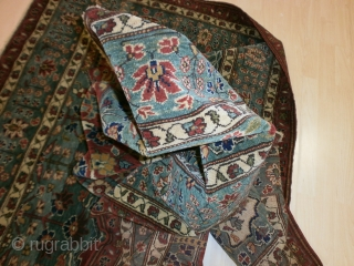 cm. 258 x 181 and It is a perfect antique carpet.  ANTIQUE extra fine QASHQHA'I KASHKULY tireh. In very, very good condition. All natural dyes and shiny wool. PERFECT like a new carpet. WARM REGARDS from  ...