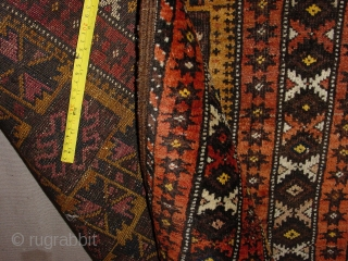Balouch prayer rug antique. Some low pile, corosion of the dark-brown. No repairs or stains. Wonderfull and very original colors and fine knot for this piece. Wool on wool foundation.  The size  is  ft. 3.1x4.5  ...