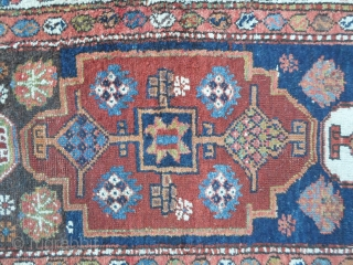 Antique runner knotted in north-west Persia by the nomadic tribe of Shahsavan, Moghan area. Very unusual pattern for a runner; with design was knotted in the mafrash of this