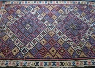 "Fine Kurdish kilim. Wool on cotton. Size:  147 cm x 231 cm (58"" x 91"")."